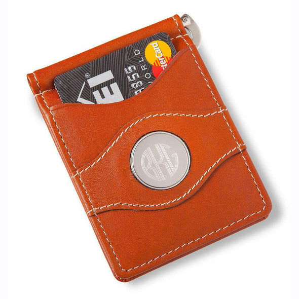Personalized Metal Pin Money Clip and Wallet - Brown - JDS