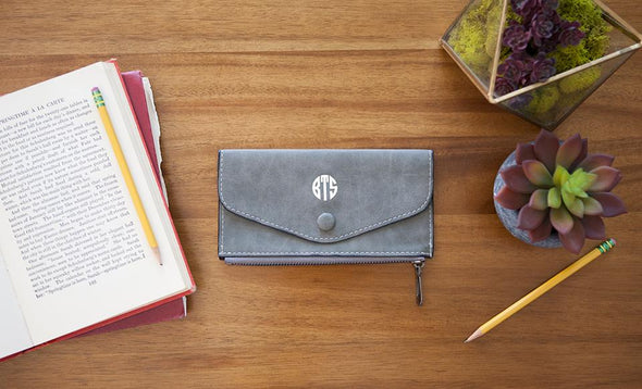 Monogrammed Womens Wallets - Grey - Qualtry