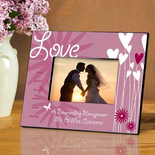 Personalized Heart and Flowers Picture Frame - Love - JDS