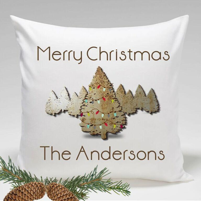 Personalized Spruce Tree Holiday Throw Pillows