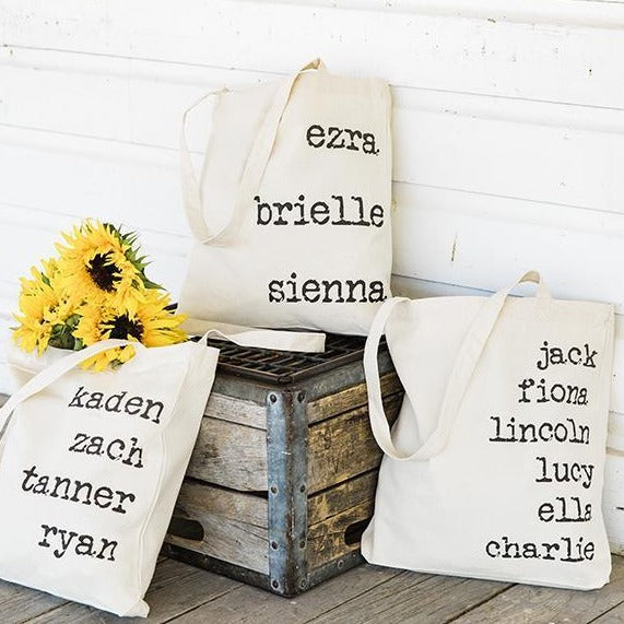 Personalized Family Names Tote Bags - Vintage