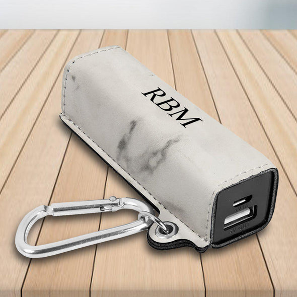 Personalized External Power Bank with USB Cord - Multiple Colors - Marble - JDS