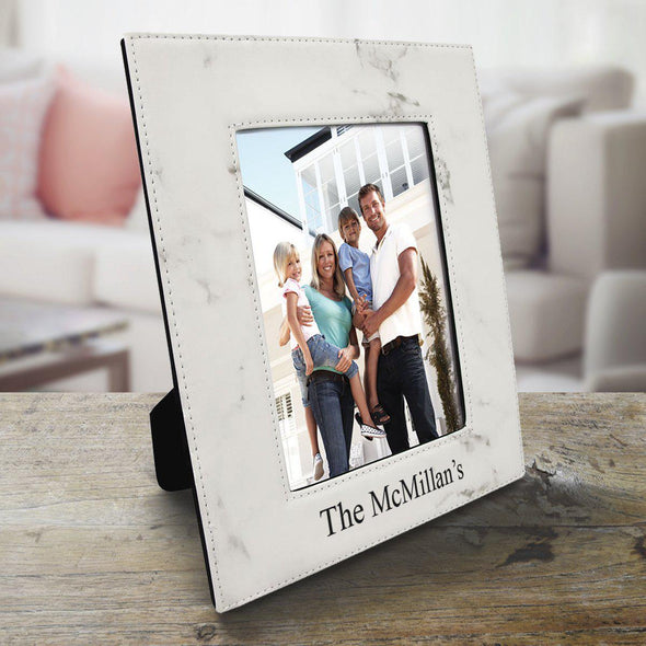 Personalized 5x7 Vegan Leather Picture Frame - Marble - A Gift Personalized