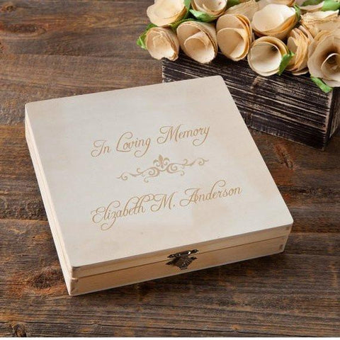 Personalized Keepsake Box - Memorial - Wood - Gifts For Her - Script