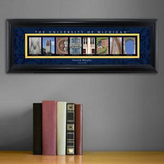 Personalized University Architectural Art - Big 10 Schools College Art - Michigan - Personalized Wall Art - AGiftPersonalized
