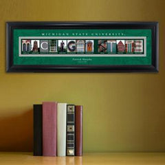 Personalized University Architectural Art - Big 10 Schools College Art - MichiganST - Personalized Wall Art - AGiftPersonalized