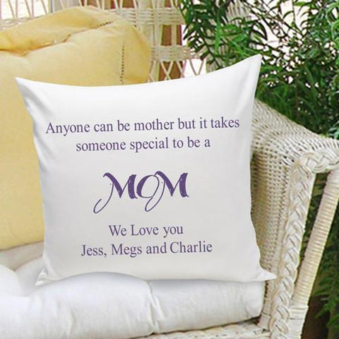 Personalized Parent Throw Pillow - Anyone Can Be A Mother - Plum