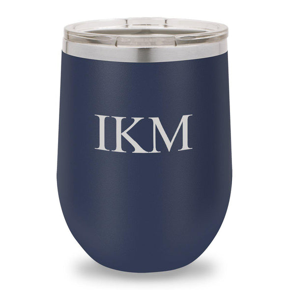 12 oz. Insulated Wine Tumbler - Navy - 3Initials - JDS