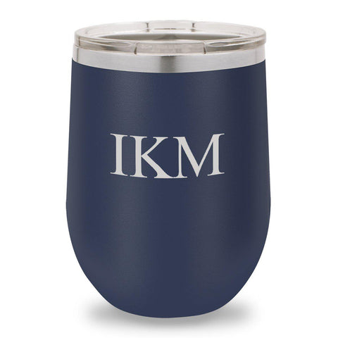 12 oz. Insulated Wine Tumbler - Navy - 3Initials - Wine Gifts & Accessories - AGiftPersonalized