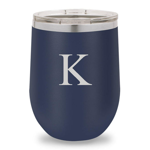 12 oz. Insulated Wine Tumbler - Navy - SingleInitial - Wine Gifts & Accessories - AGiftPersonalized