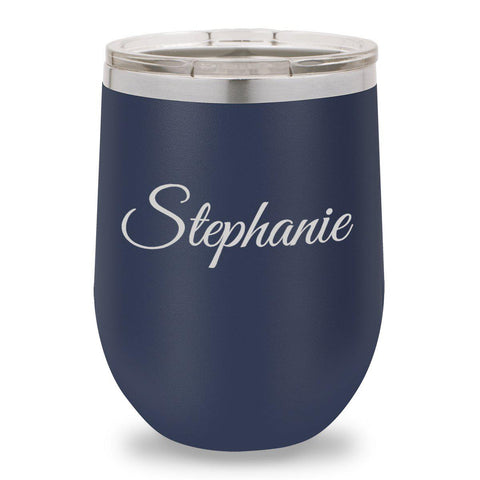 12 oz. Insulated Wine Tumbler - Navy - Script - Wine Gifts & Accessories - AGiftPersonalized