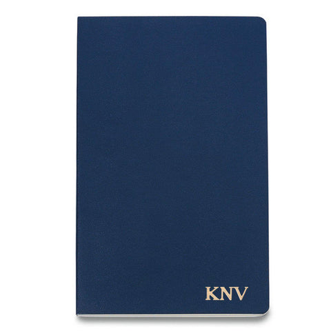 Personalized Moleskine® Notebook – Navy Blue - Gold - Desk and Office - AGiftPersonalized