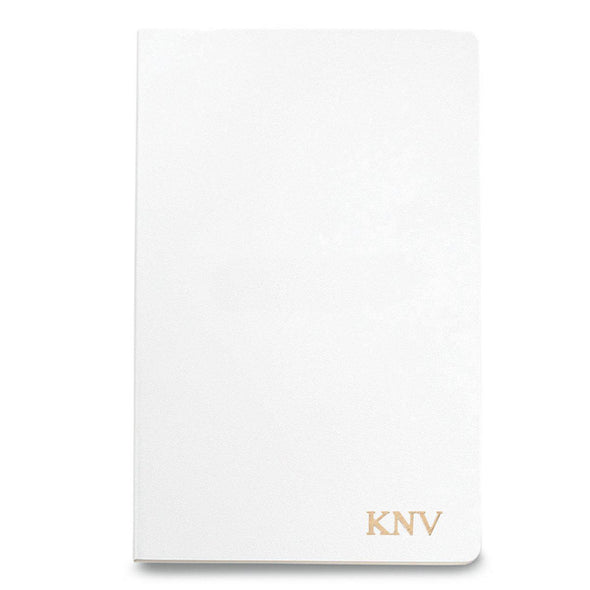 Personalized Moleskine® Notebook – Matte White - Gold - JDS