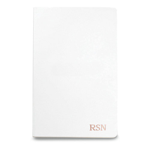 Personalized Moleskine® Notebook – Matte White - RoseGold - Desk and Office - AGiftPersonalized