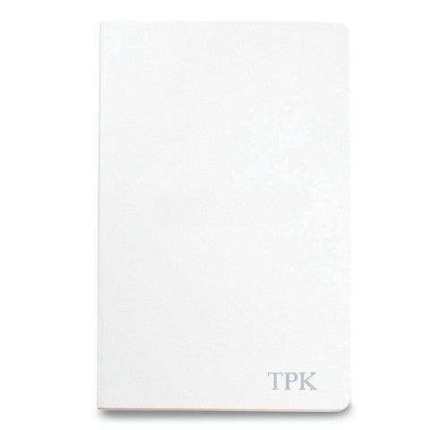 Personalized Moleskine® Notebook – Matte White - Silver - Desk and Office - AGiftPersonalized