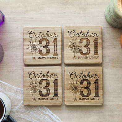 Personalized Halloween Bamboo Coasters - Set of 4 -  - Qualtry