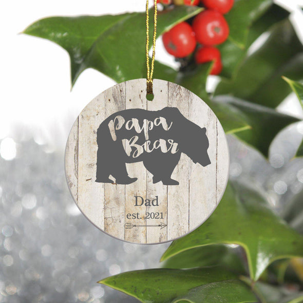 Personalized Family Ornament - Christmas - Bear Family - PapaBear - JDS