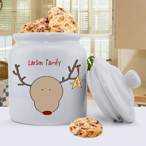 Personalized Holiday Cookie Jars - Reindeer - JDS