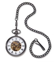 "Personalized ""Gears"" Gunmetal Pocket Watch"