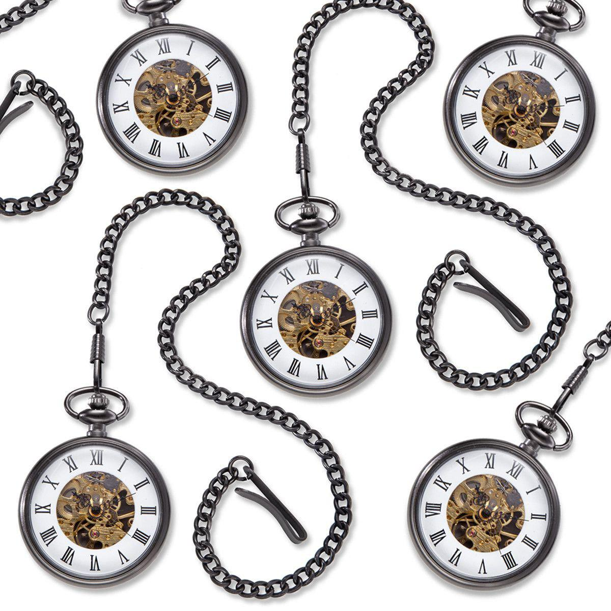 "Personalized ""Gears"" Gunmetal Pocket Watch - Set of 5"