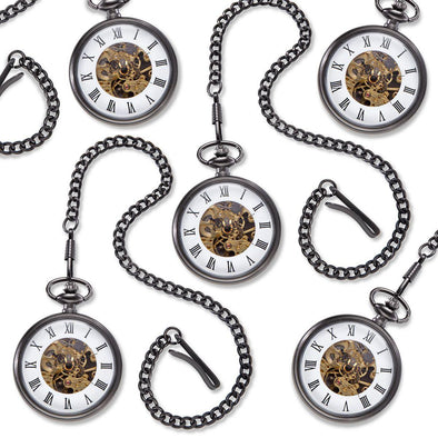 "Personalized ""Gears"" Gunmetal Pocket Watch - Set of 5 -  - JDS"