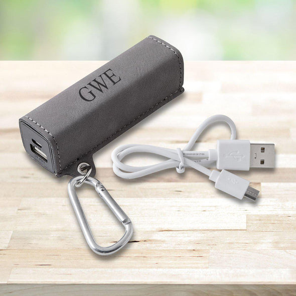 Personalized Leatherette External Power Bank with USB Cord - Multiple Colors - Gray - JDS