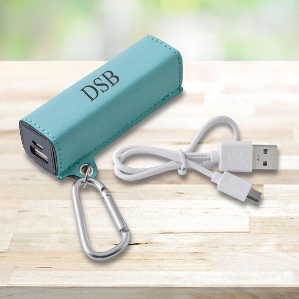 Personalized Leatherette External Power Bank with USB Cord - Multiple Colors - Mint - JDS