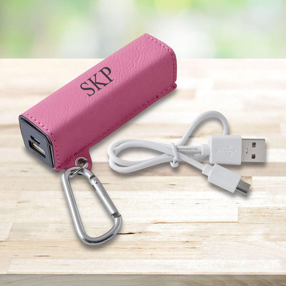 Personalized Leatherette External Power Bank with USB Cord - Multiple Colors - Pink - JDS