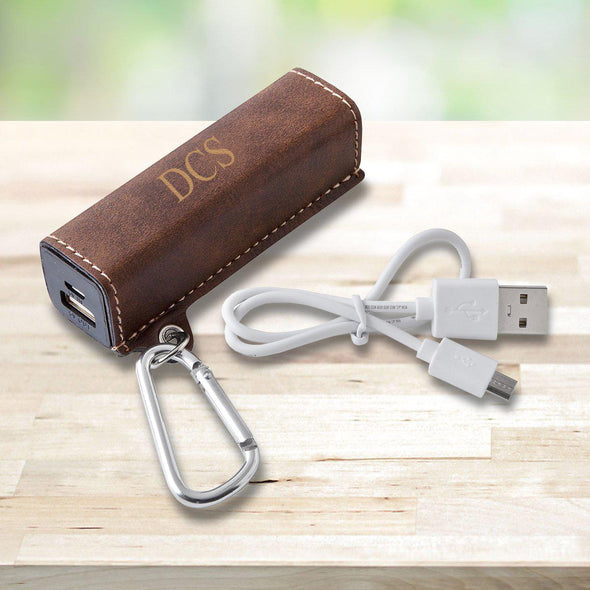 Personalized Vegan Leather External Power Bank with USB Cord - Multiple Colors - RusticBrown - JDS