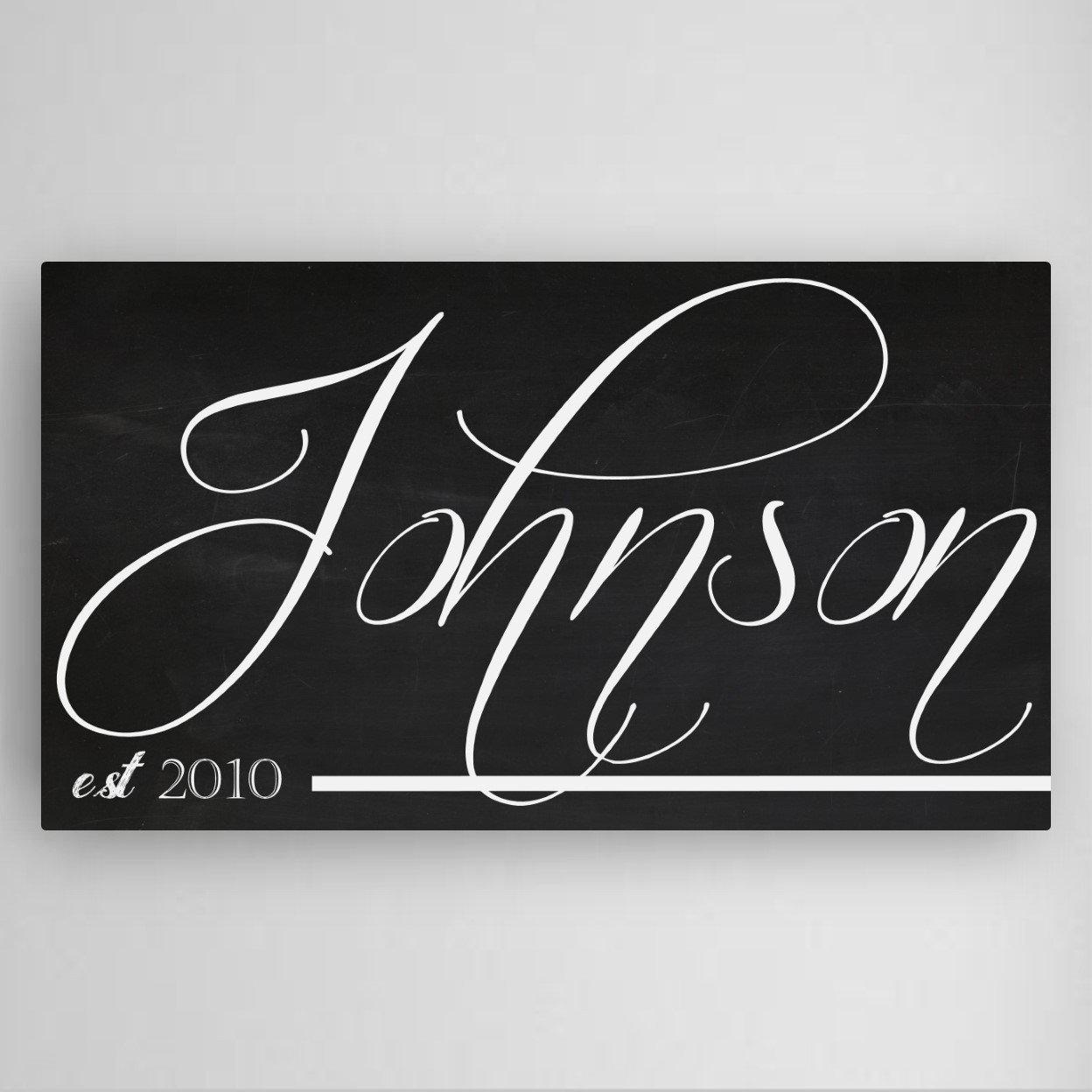 Personalized Family Chalkboard Canvas Sign