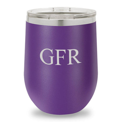 12 oz. Insulated Wine Tumbler - Purple - 3Initials