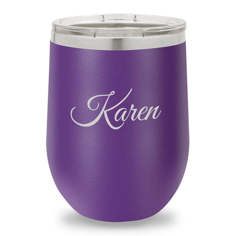 12 oz. Insulated Wine Tumbler - Purple - Script
