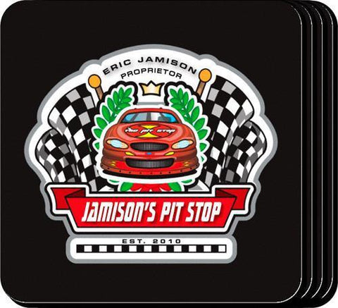 Personalized Coaster Set - Racing - Personalized Barware - AGiftPersonalized