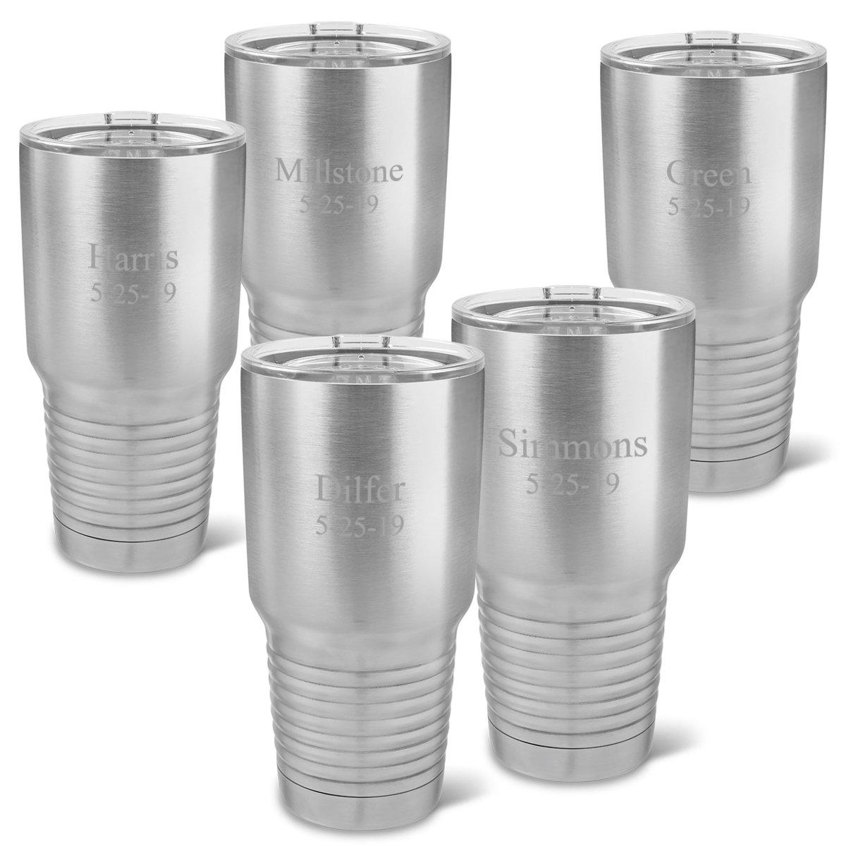 Personalized Stainless Silver 30 oz. Double Wall Insulated Tumblers Set of 5