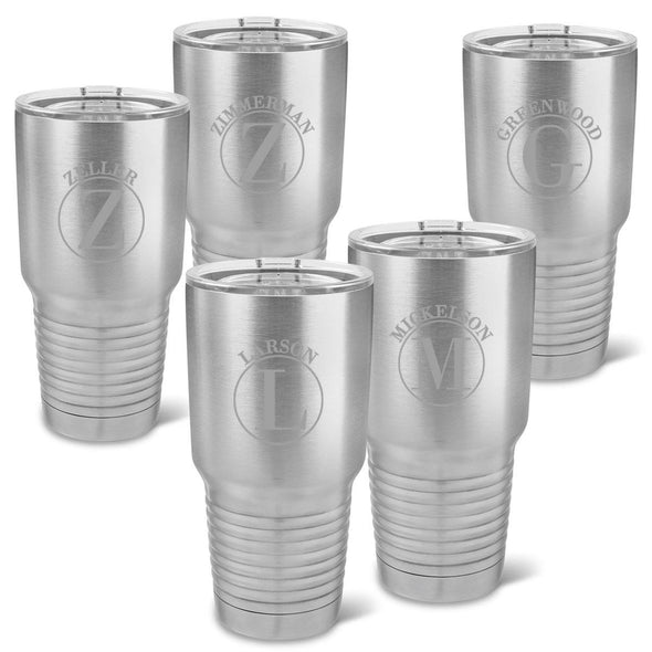 Set of 5 Personalized 30 oz. Stainless Insulated Tumblers - Circle - JDS