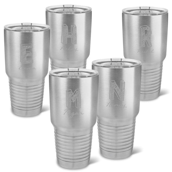 Personalized 30 oz. Stainless Steel Double Wall Insulated Tumbler Set of 5 - All - Kate - JDS