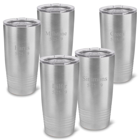 Personalized  Stainless Silver 20 oz. Double Wall Insulated Tumblers Set of 5 -  - JDS