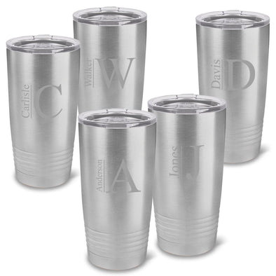 Personalized 20 oz. Stainless Silver Double Wall Insulated Interlocking Monogram Tumbler Set of 5 -All - Modern - JDS