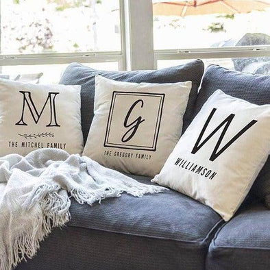 Personalized Monogram Throw Pillow Covers -  - Qualtry