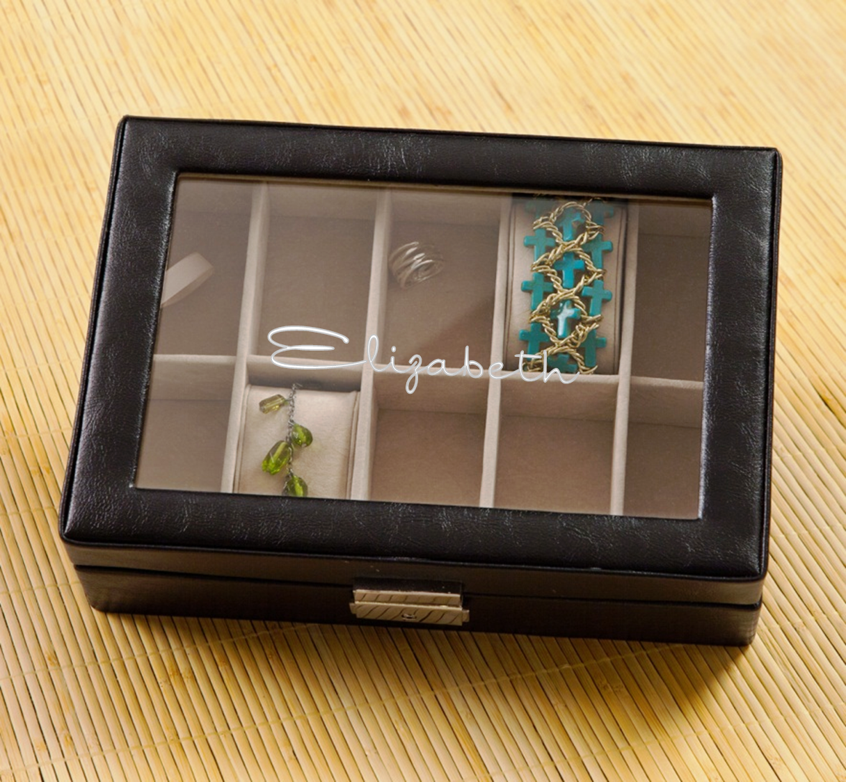 Personalized Leather Jewelry Box with Glass Lid