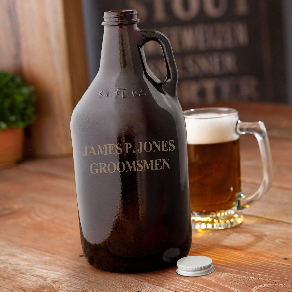 Personalized Amber Growler - 64oz.