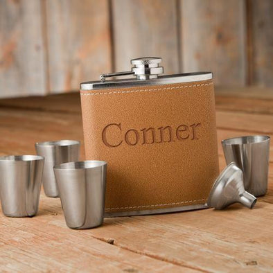 Personalized Hide Stitch Flask & Shot Glass Set -  - JDS