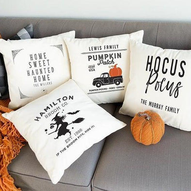 Personalized Haunted Home Throw Pillow Covers -  - Qualtry