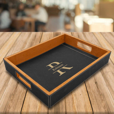 Personalized Black Vegan Leather Serving Tray -  - JDS