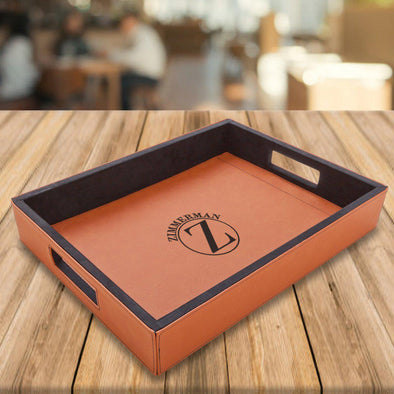 Personalized Rawhide Vegan Leather Serving Tray -  - JDS