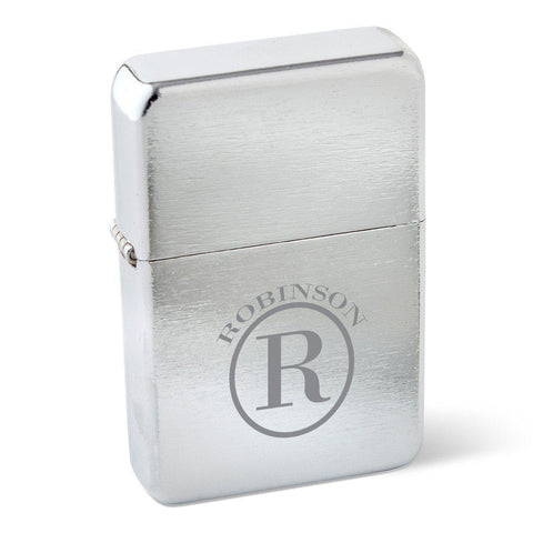 Personalized Lighters - Stainless Steel - Wind Proof - Groomsmen Gifts - Circle - Cigars and Humidors - AGiftPersonalized