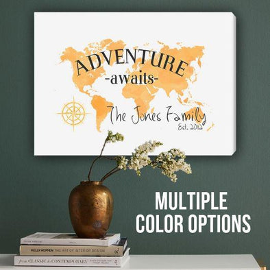 Personalized Adventure Awaits Canvas Map Sign -  - JDS
