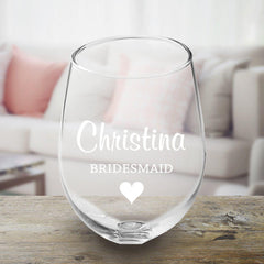 Personalized Bridal Party Stemless Wine Glass
