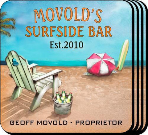 Personalized Coaster Set - SurfSide - Personalized Barware - AGiftPersonalized