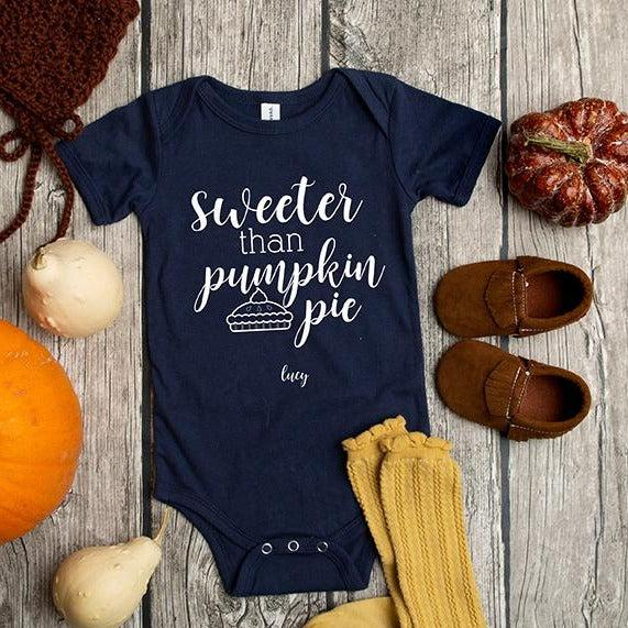Personalized Thanksgiving Infant and Toddler One-Piece Collection - Navy / 3-6 Month - Qualtry